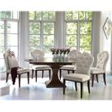 Bernhardt Haven 6 Piece Single Pedestal Table and Upholstered Chairs Set