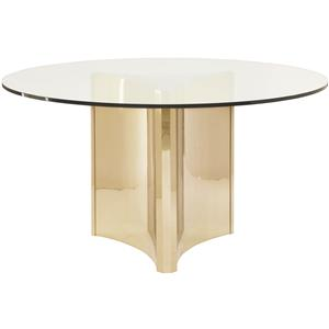 Bernhardt Interiors - Abbot Round Metal Dining Table with Glass Top