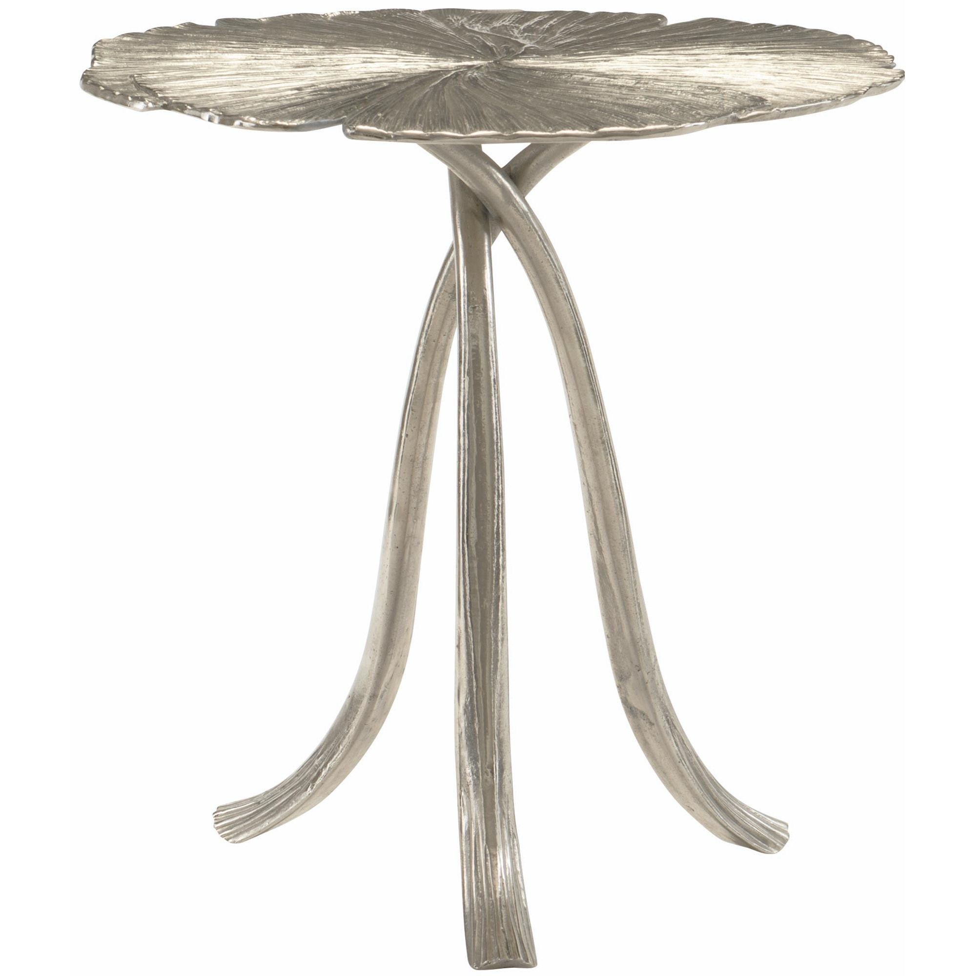 Round Ginko Leaf Metal End Table