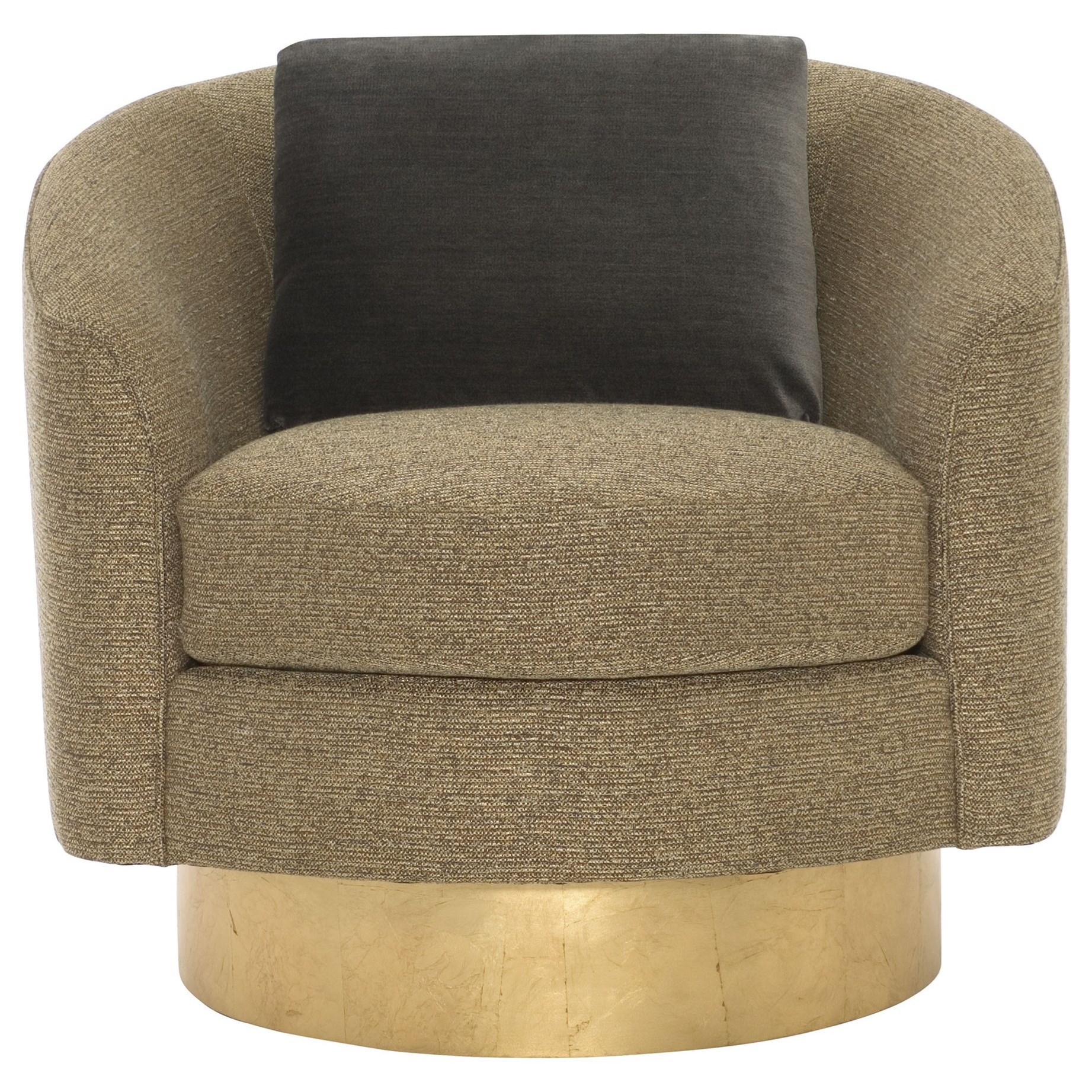 Interiors   Camino Barrel Back Swivel Chair With Gold Leaf Finish Base By  Bernhardt
