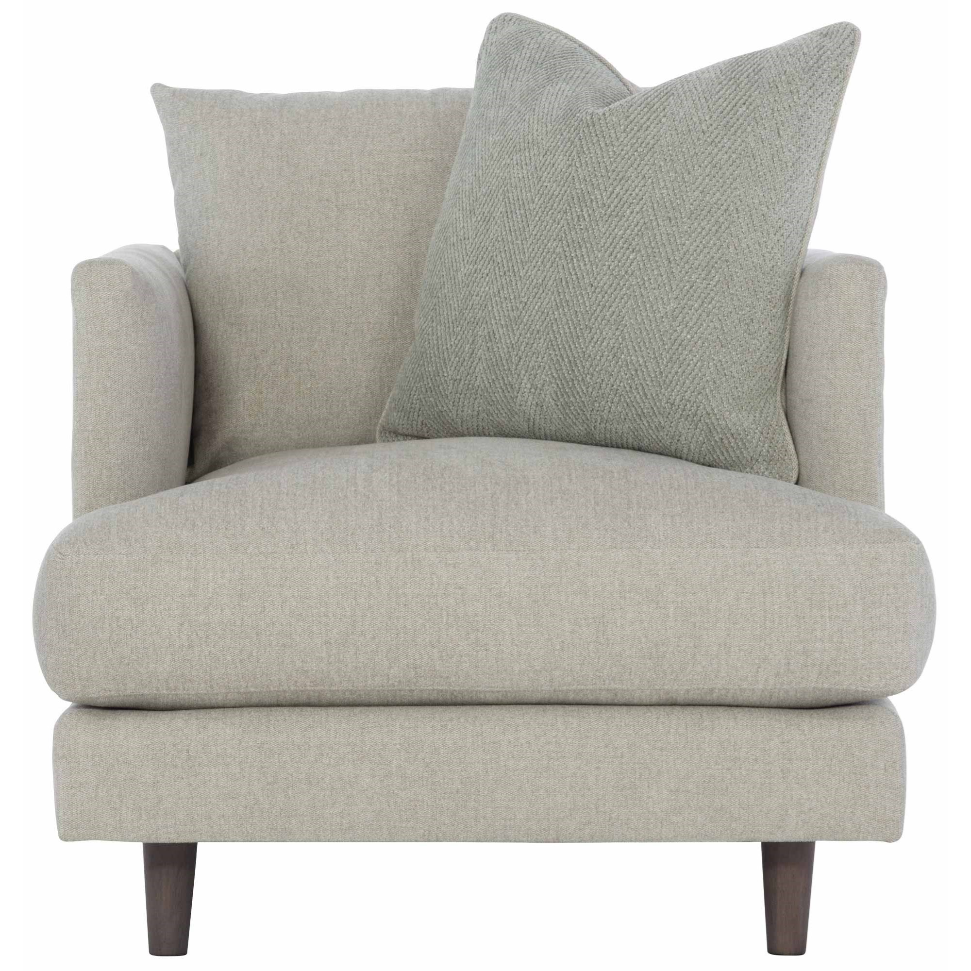 Picture of: Bernhardt Colette P7422 Mid Century Modern Chair With Down Seat Cushion And Throw Pillow Esprit Decor Home Furnishings Upholstered Chairs