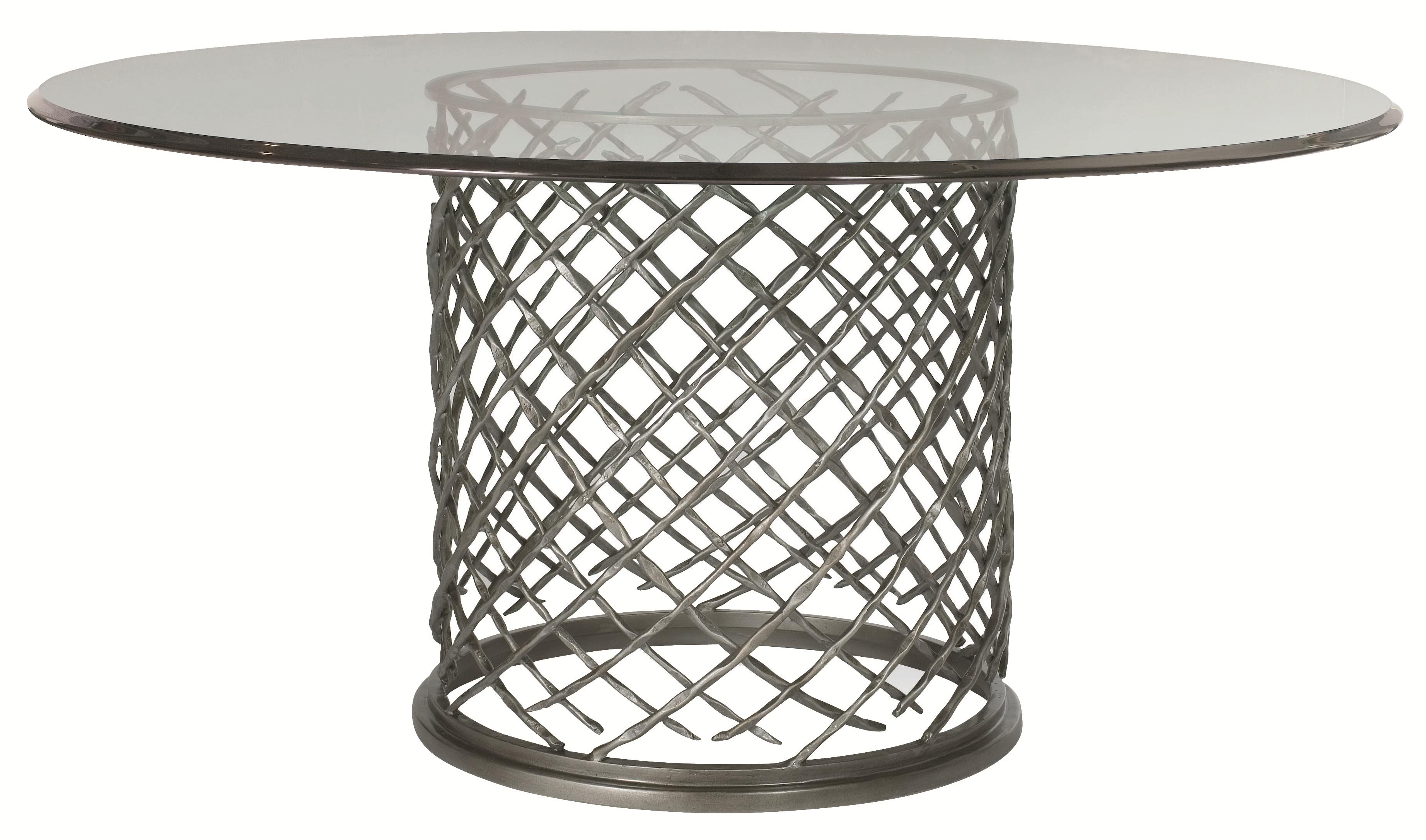 "Bernhardt Hallam Hallam Metal Table with Glass Top (60"") - Item Number: 336-773+998-060"