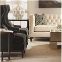 Bernhardt Interiors - Sofas Transitional Styled Beckett Leather Sofa in Tuxedo Sofa Style - Shown in Detail with Coordinating Accent Items