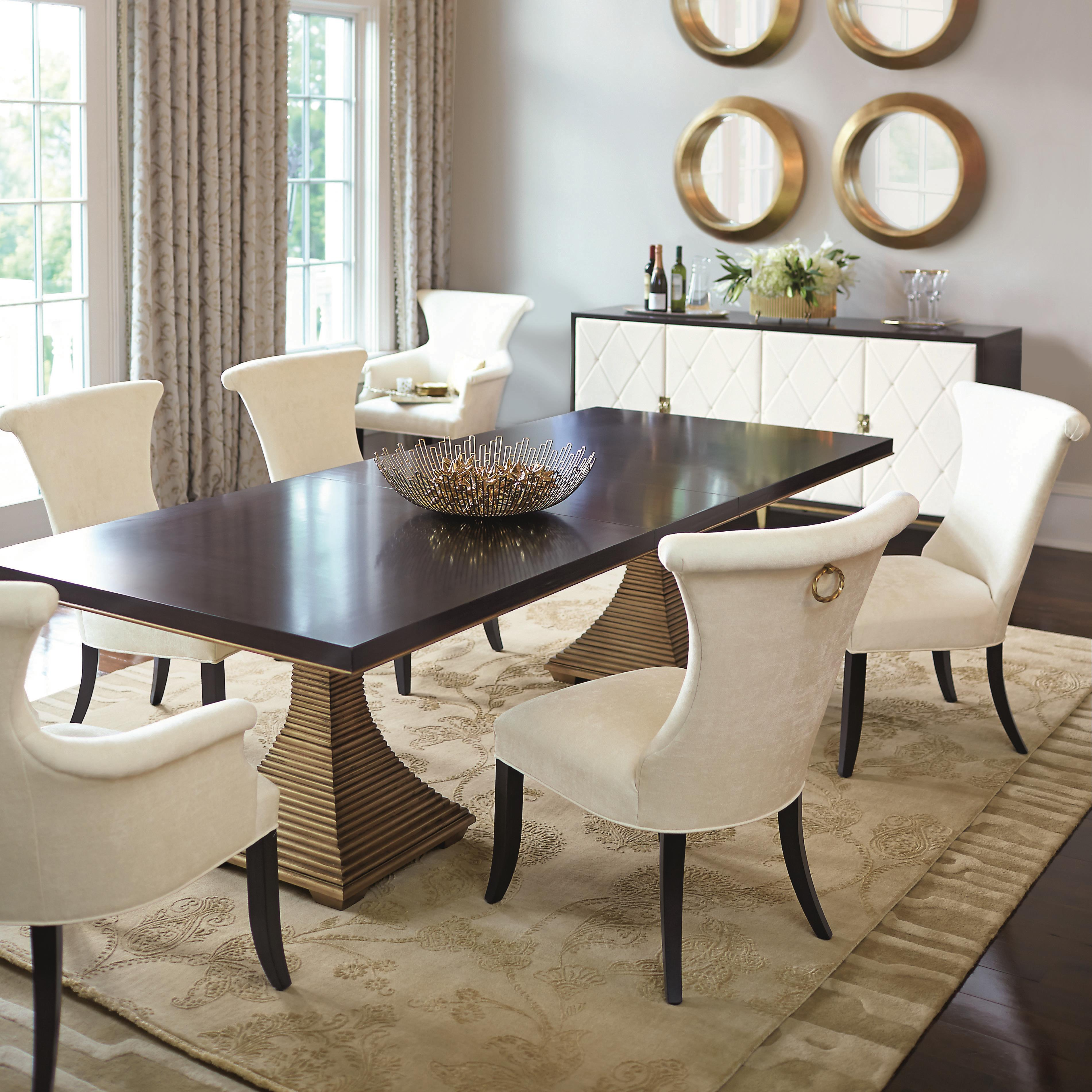 Bernhardt Jet Set Dining Set With Double Pedestal Table