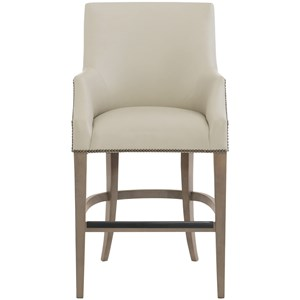 Bernhardt Keeley Upholstered Bar Stool With Nail Head Trim