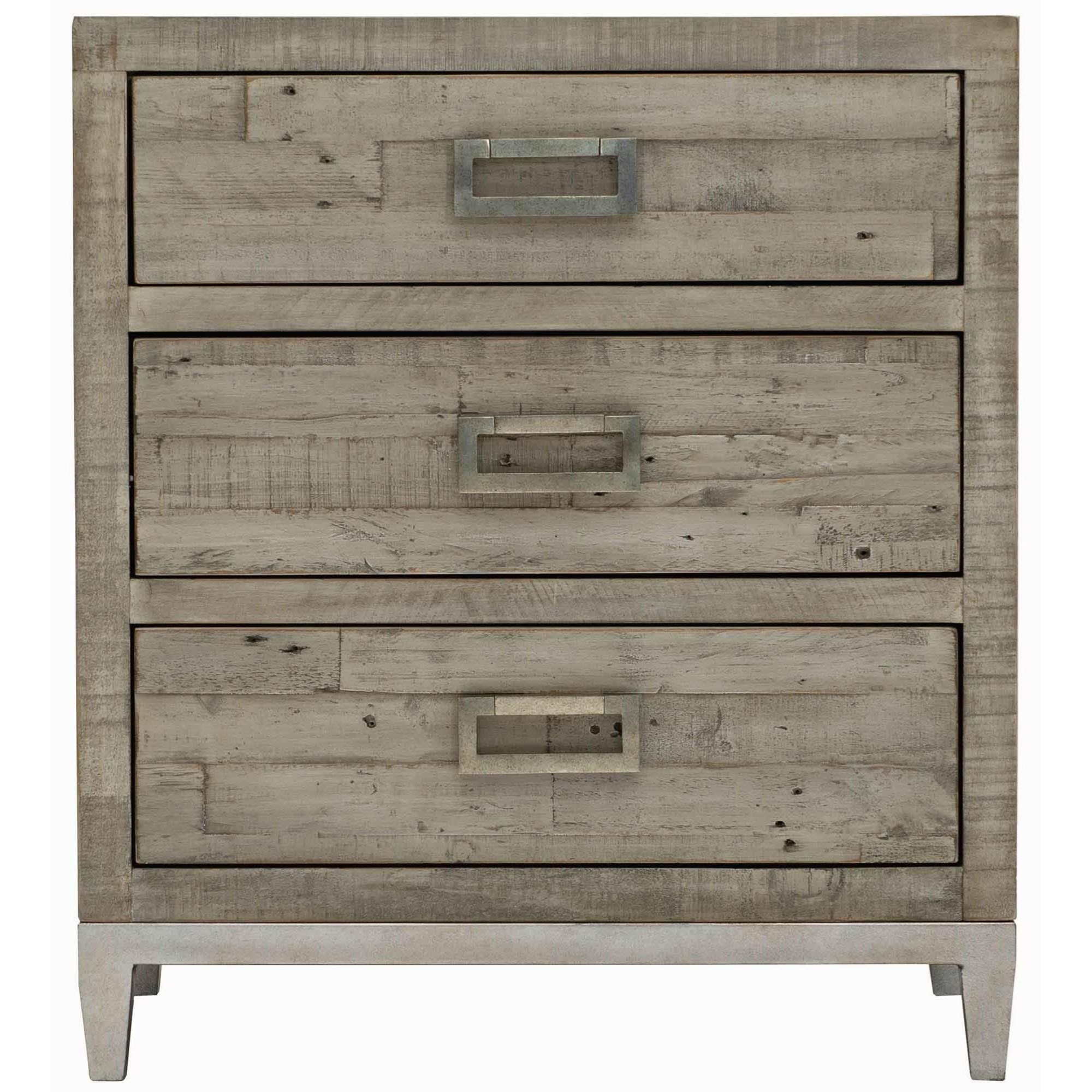 Bernhardt Loft Highland Park 398 216g Shaw Rustic Modern 3 Drawer Nightstand Baer S Furniture Nightstands