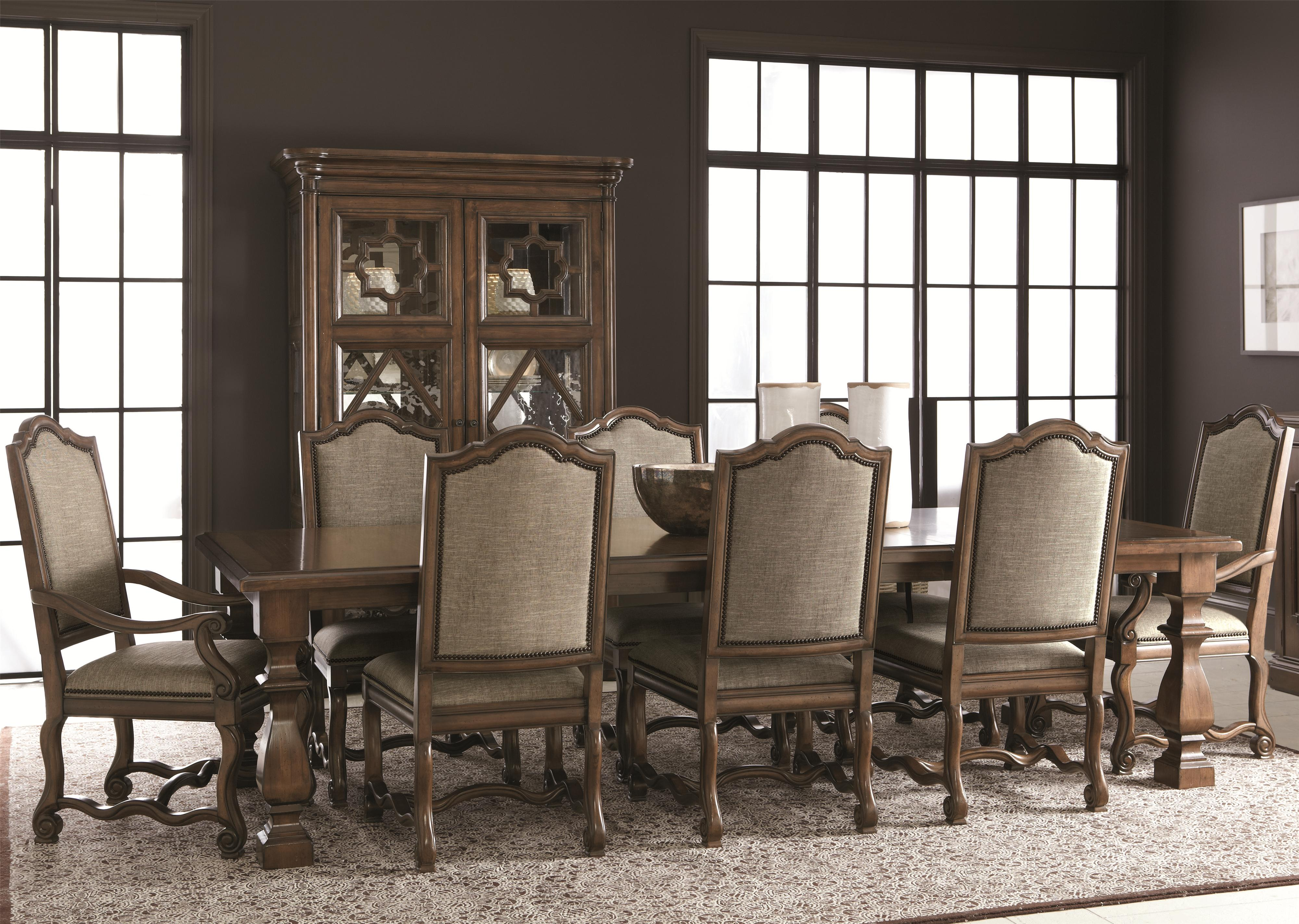bernhardt montebella 9 piece dining set with upholstered chairs