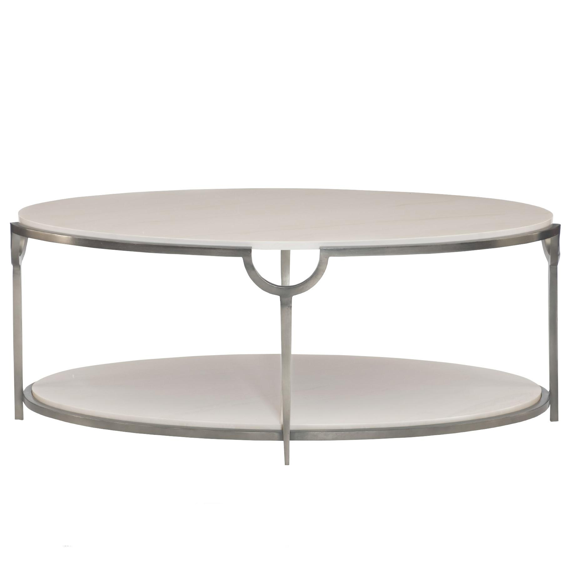 Rectangle Faux Marble Coffee Table: Bernhardt Morello Oval Cocktail Table With Faux Marble Top