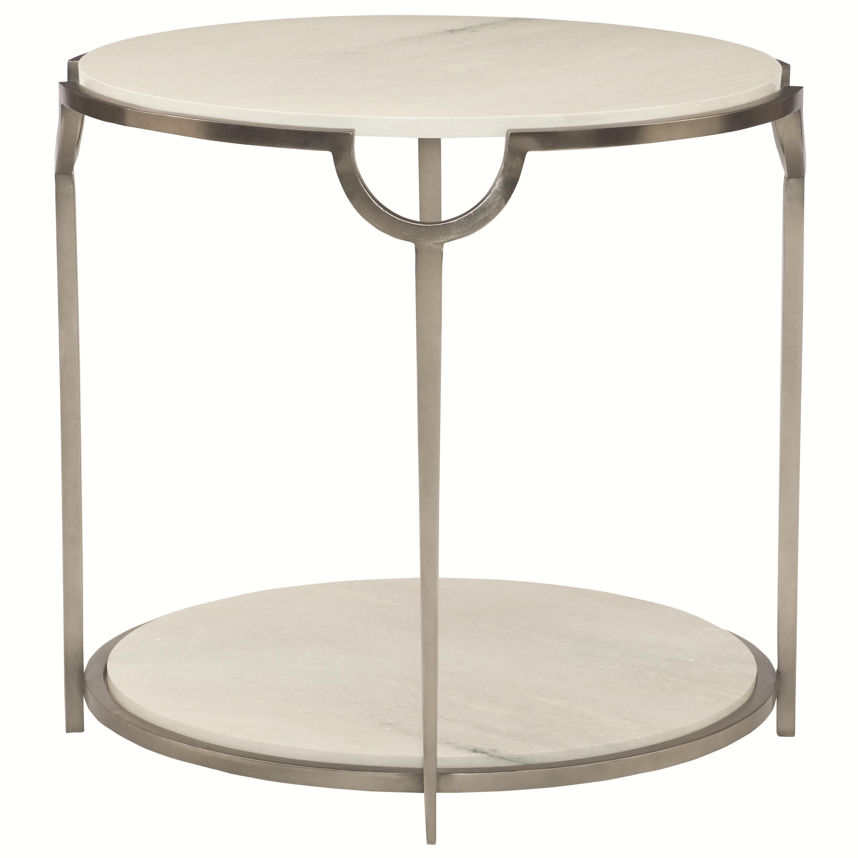 White Marble And Metal Round Accent Table: Bernhardt Morello Round End Table With Faux Marble Top