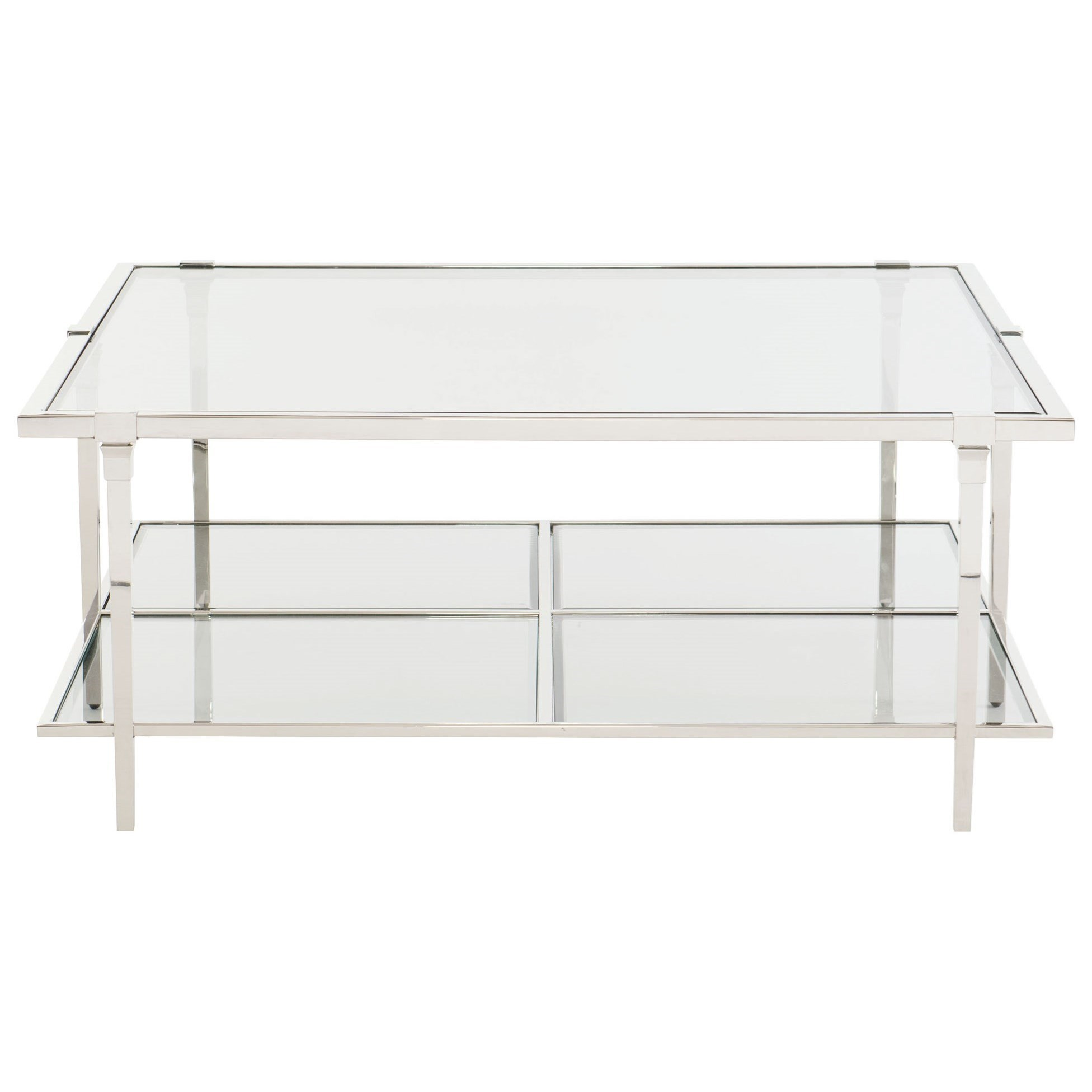 Bernhardt Napier Metal And Glass Square Cocktail Table