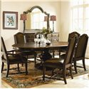 Bernhardt Normandie Manor Buffet With Stone Top - Shown With Landscape Mirror, Upholstered Side Chairs, and Round Dining Table With Leaf Extended