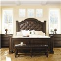 Bernhardt Normandie Manor Bench With Tufted Leather Seat - Shown With Bachelor\'s Chests, and Upholstered Panel Bed
