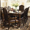 Bernhardt Normandie Manor Leather Upholstered Arm Chair - Shown With Side Chairs and Dining Table