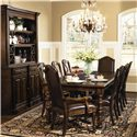 Bernhardt Normandie Manor Leather Upholstered Arm Chair - Shown With Server With Hutch, Side Chairs, and Dining Table