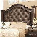 Bernhardt Normandie Manor Queen-Size Button-Tufted Leather Upholstered Headboard with Nailhead Trim - Angled View - Headboard Shown May Not Represent Size Indicated