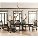 Bernhardt Pacific Canyon Dining Set with Double Pedestal Table and Upholstered Chairs