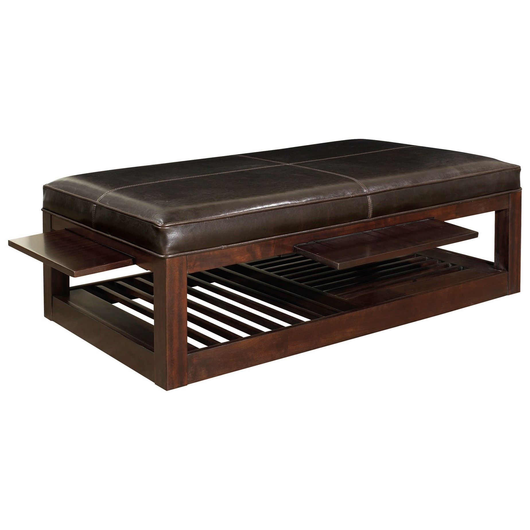 Bernhardt Park West Cocktail Ottoman with 2 Pull Out Shelves