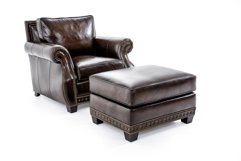Bernhardt Parker Chair & Ottoman Set - Item Number: 4072LXO+4071LXO DARK BROWN