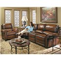 Bernhardt Reese Traditional Motion Sofa with Nail Trim - Shown in Room Setting with Matching Recliner