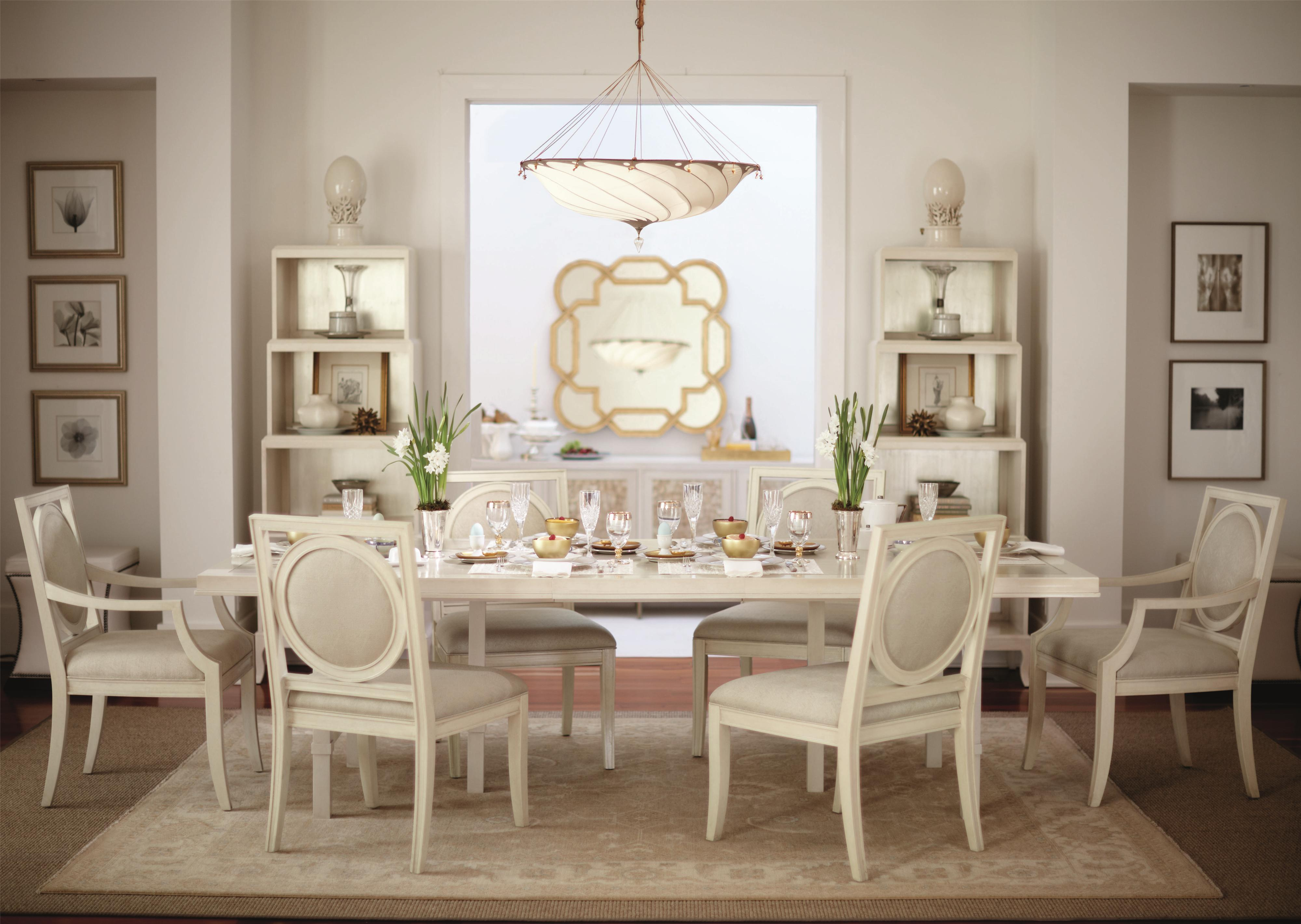 Bernhardt Salon 7 Piece Dining Set with Rectangular Table - Item Number: 341-224+2x562+4x561