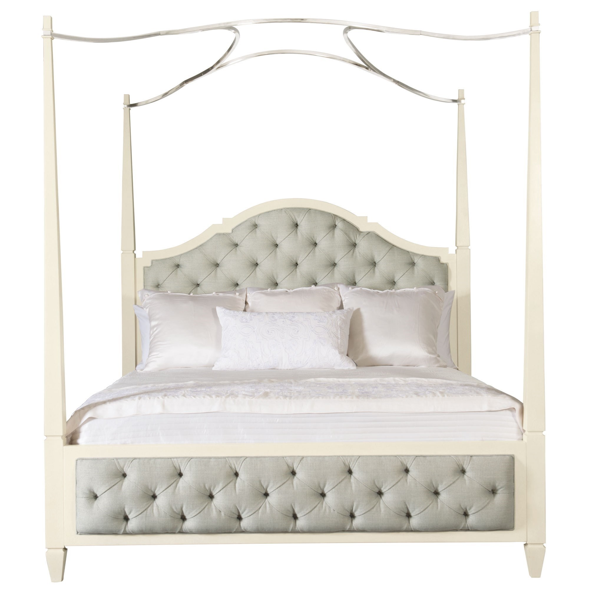 Bernhardt Savoy Place Queen Upholstered Poster Bed - Item Number: 371-H57A+F57A+R57A+527