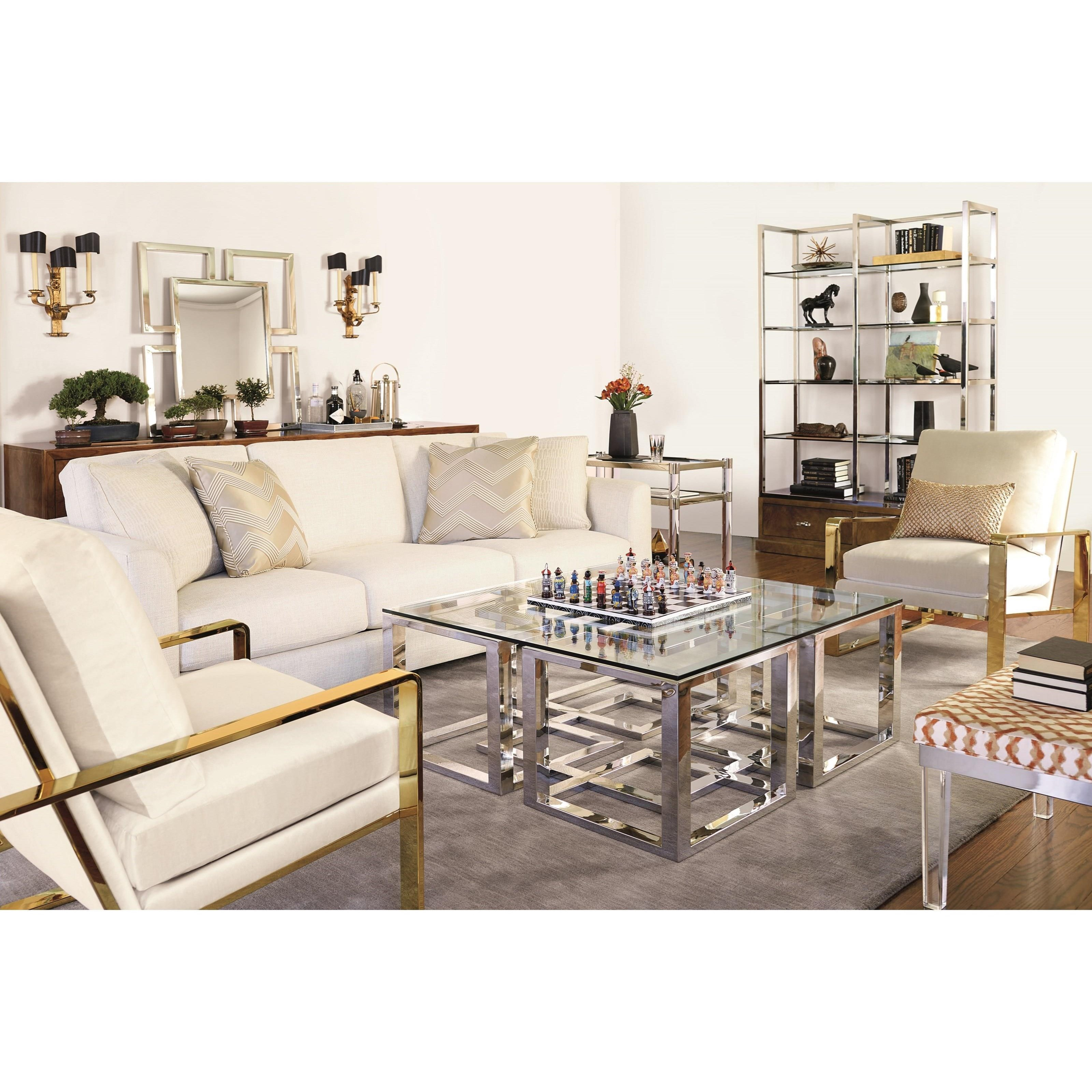 Bernhardt Soho Luxe Contemporary Metal Cocktail Table With