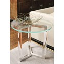 Bernhardt Soho Luxe Contemporary Round End Table with Glass Top and Acrylic Legs