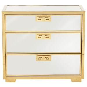 Bernhardt Soho Luxe Modern 3-Drawer Mirror Nightstand