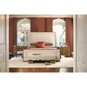 Bernhardt Soho Luxe Transitional Queen Upholstered Bed with Greek Key Design
