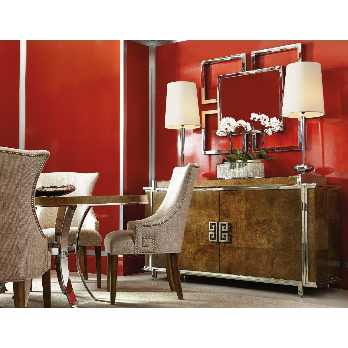 Bernhardt Soho Luxe Dining Room Group With 4 Upholstered