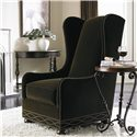 Bernhardt Upholstered Accents Blaine Wing Chair with High Back and Bun Feet - Shown in Room Setting