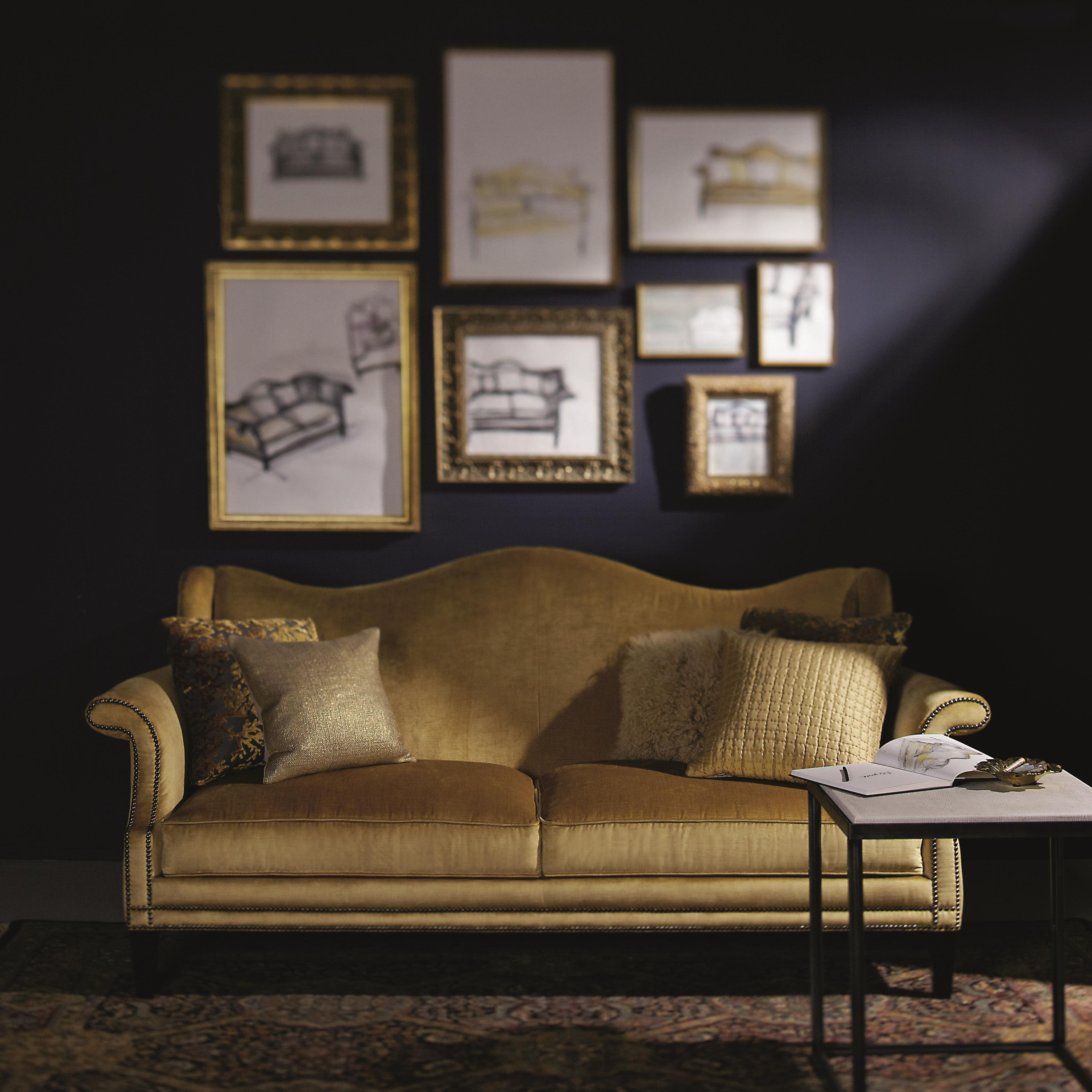 Bernhardt Upholstered Accents Fitzgerald Sofa With Camel Back And Nail Heads Belfort Furniture