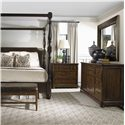 Bernhardt Vintage Patina 3-Drawer Nightstand - Shown in Room Setting with Bed, Dresser and Bench