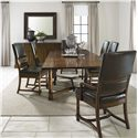 Bernhardt Vintage Patina Upholstered Dining Room Side Chair - Shown in Room Setting with Trestle Table, Upholstered Arm Chair and Buffet