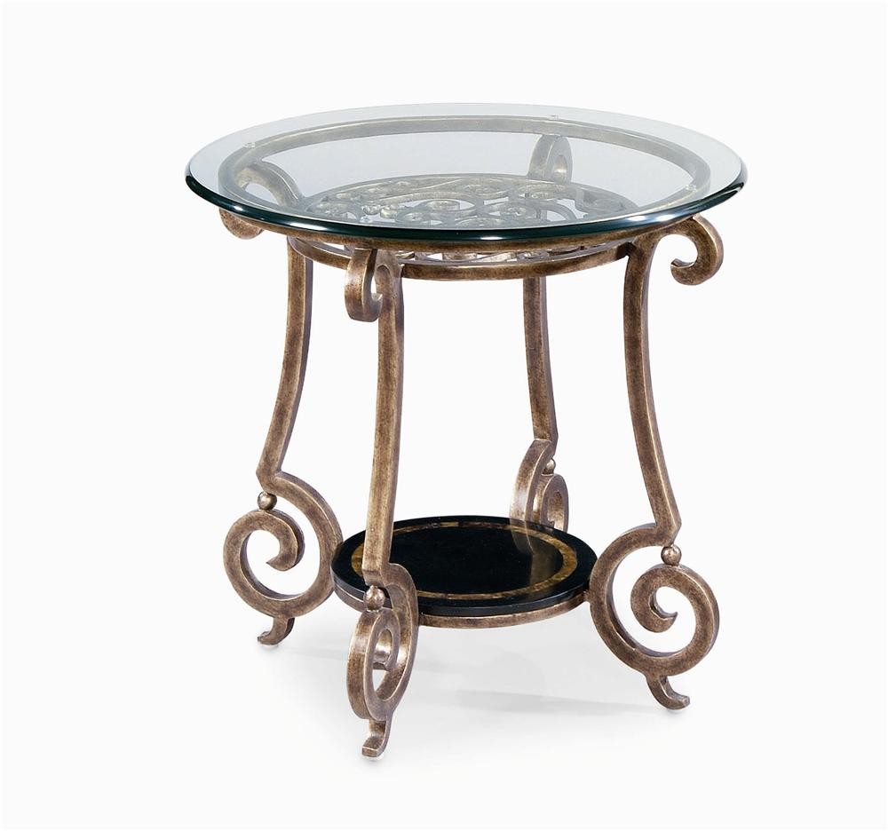 Bernhardt Zambrano Round End Table Base & Glass Top - Item Number: 582-123+124