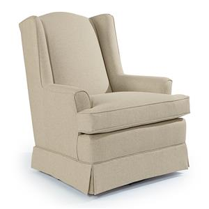 Best Chairs Storytime Series Storytime Swivel Chairs and Ottomans Natasha Swivel Glider with Wing Back and Skirt