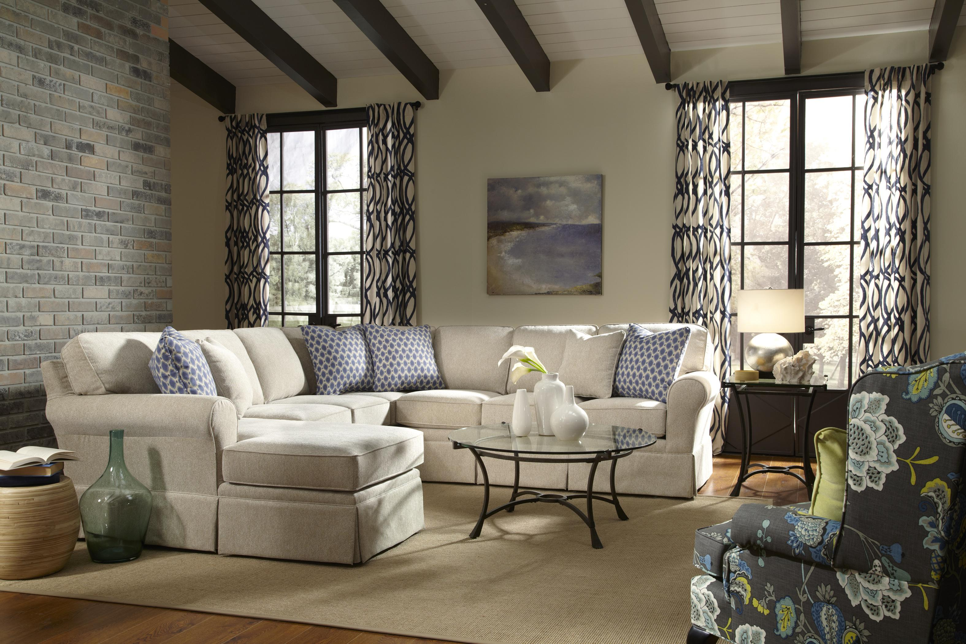 Vendor 411 Annabel Five Piece Customizable Sectional Sofa With Sock Rolled Arms And Skirted Base