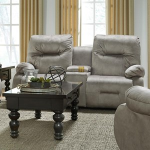 Best Home Furnishings Brinley 2 Power Rocking Reclining Console Loveseat