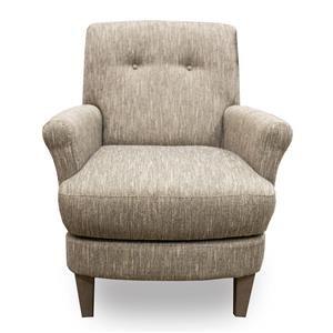 Linen Swivel Barrel Chair with Wood Legs