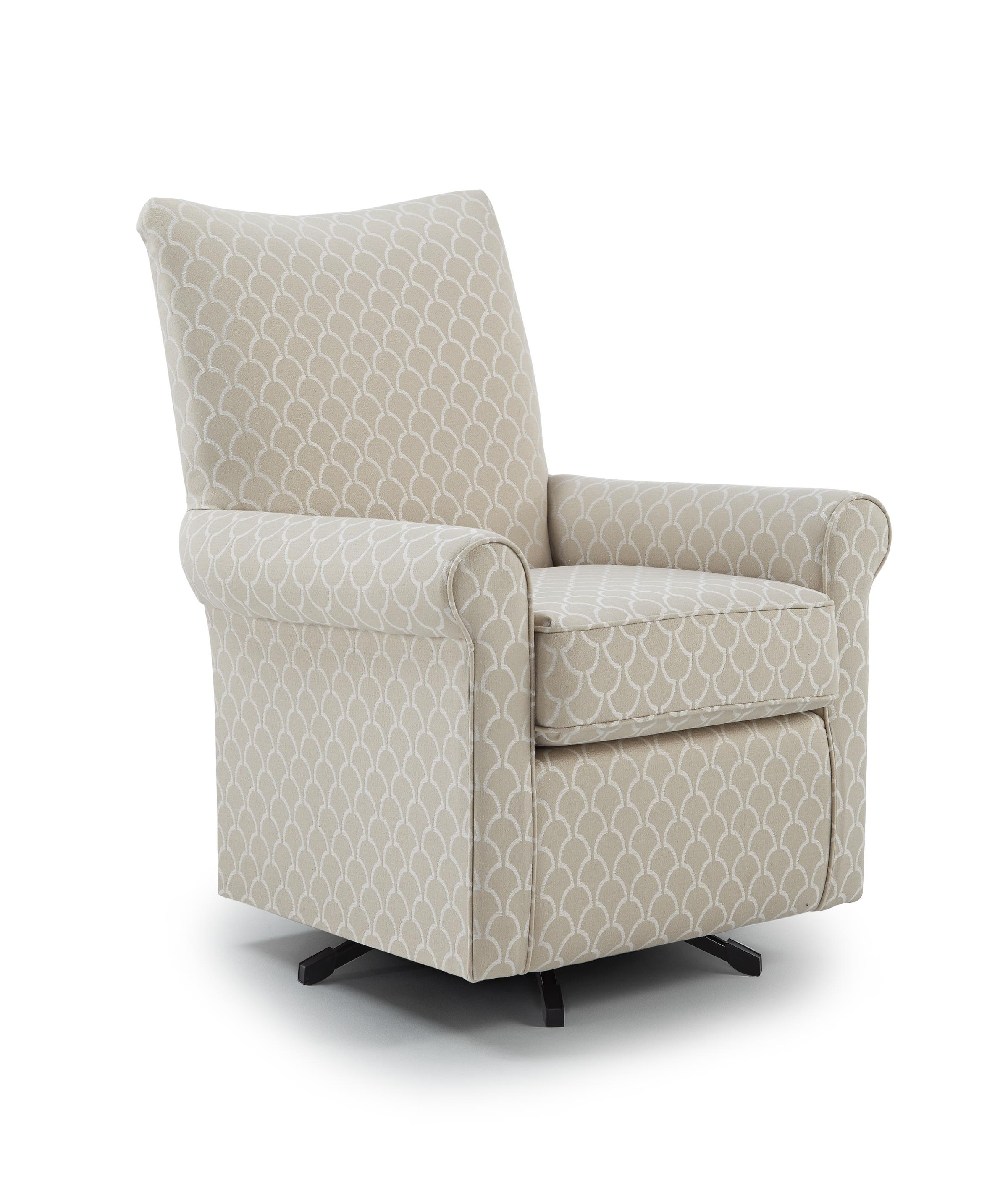 Best home furnishings chairs club traditional swivel chair with wood block feet zak 39 s fine - Swivel feet for chairs ...