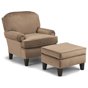 Best Home Furnishings Club Chairs Troy Club Chair and Ottoman Set