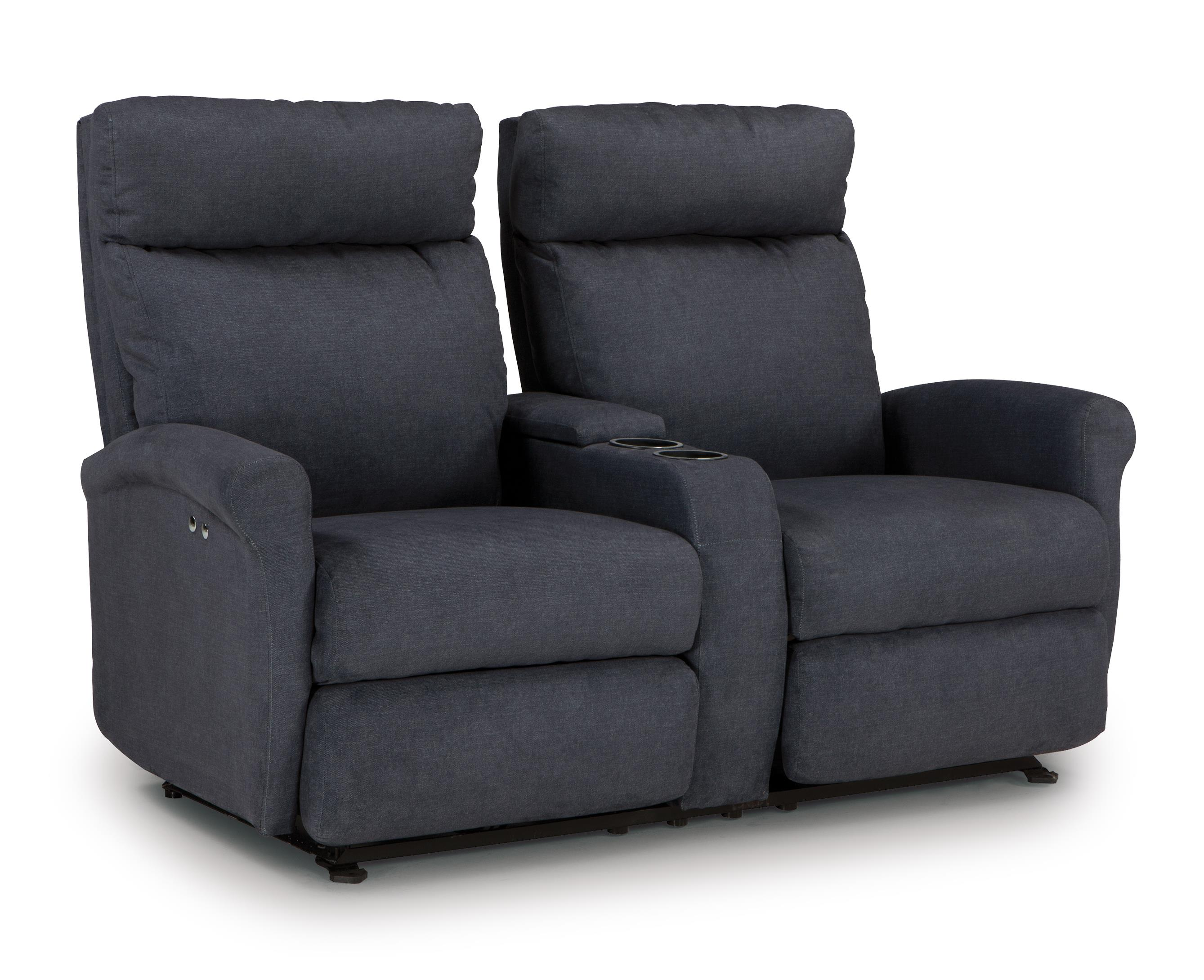 Best home furnishings codie power rocking reclining loveseat with storage console and cupholders Storage loveseat