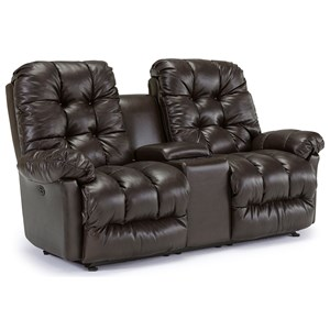 Best Home Furnishings Everlasting Power Rocking Reclining Loveseat w/ Console