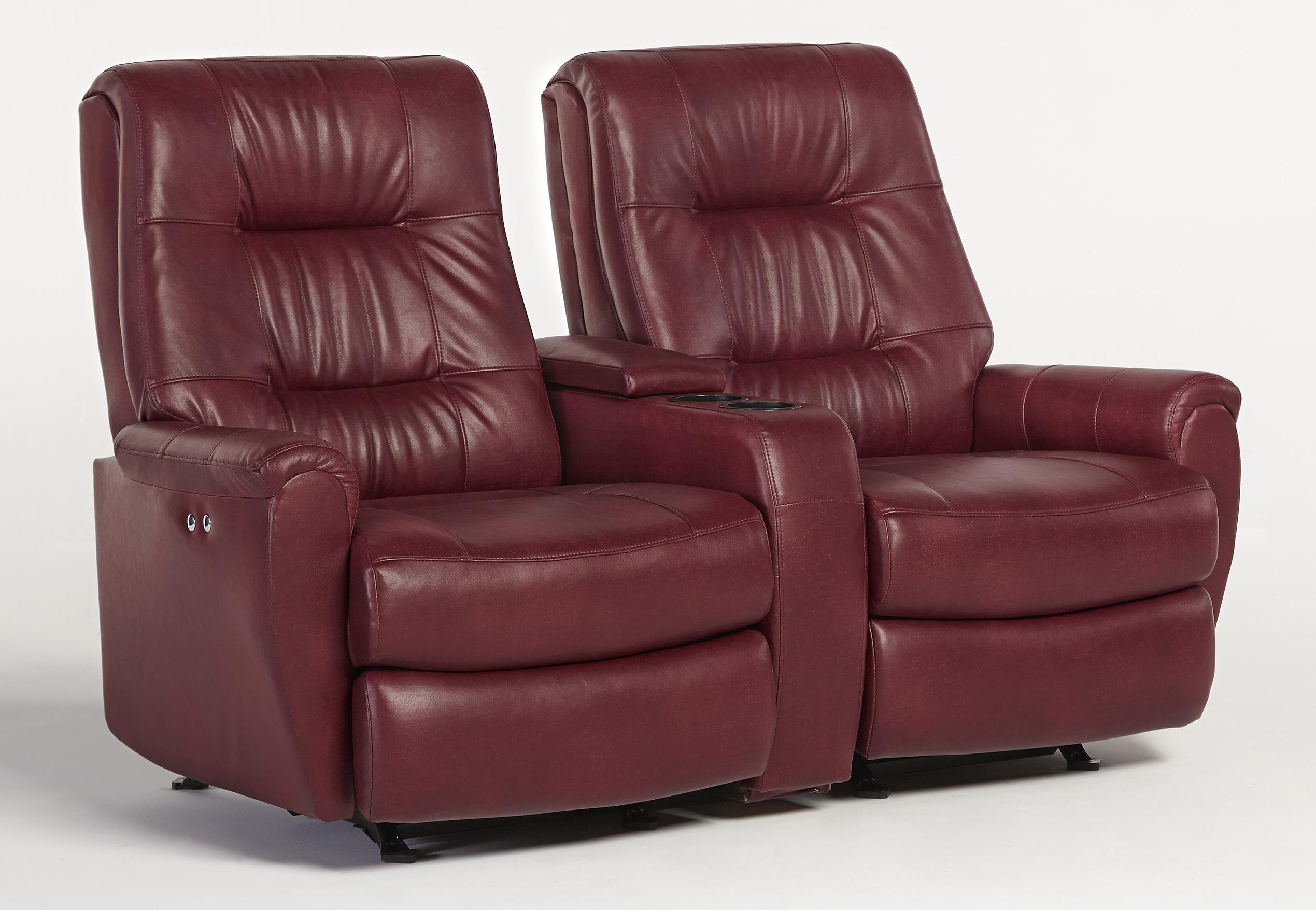Best home furnishings felicia small scale rocking reclining loveseat with drink holder and Loveseat with cup holders