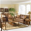 Morris Home Furnishings Fitzpatrick Traditional 2-Seat Stationary Loveseat - Shown in Room Setting with Matching Sofa