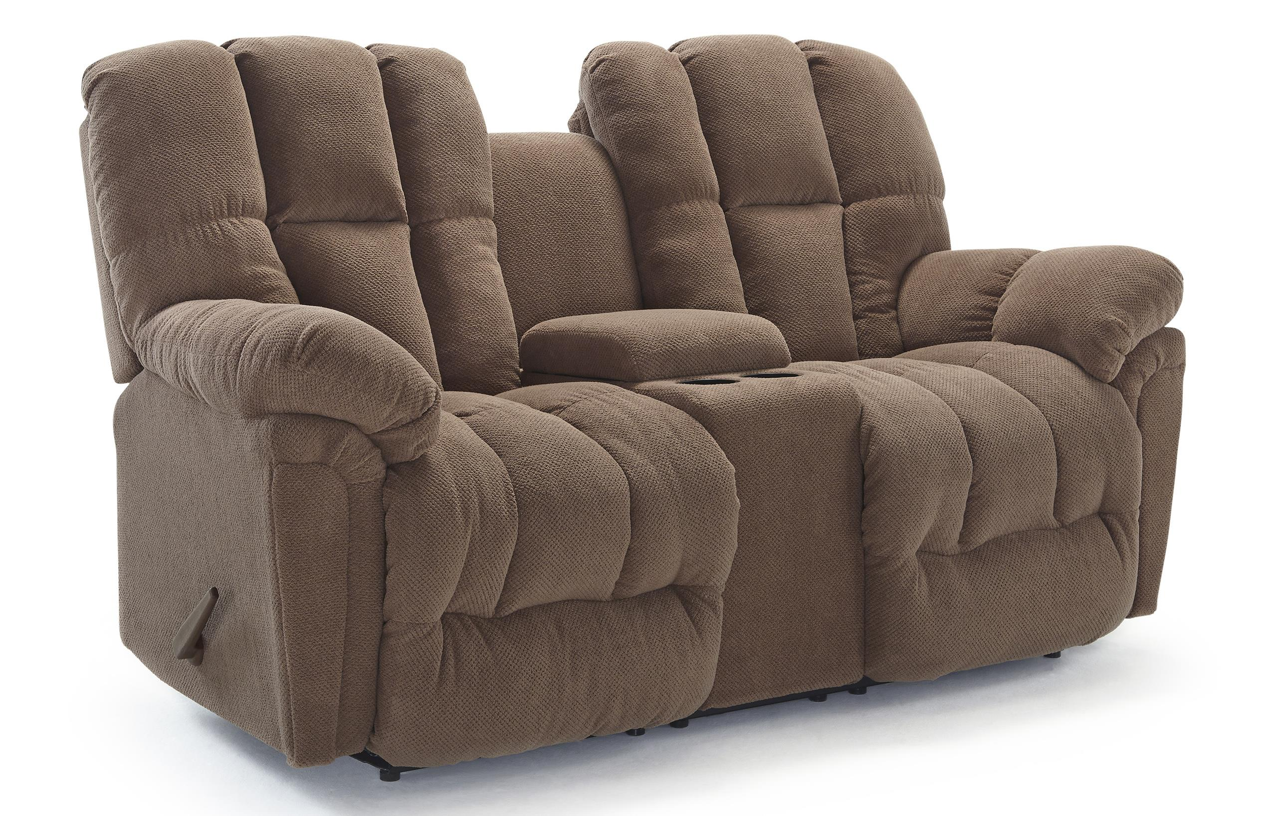 Lucas plush power rocking reclining loveseat with drink console by best home furnishings wolf Loveseats with console
