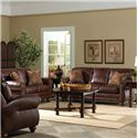 Best Home Furnishings Noble Stationary Leather Sofa With Nailhead Trim - Shown in Room Setting With Coordinating Loveseat and Chair