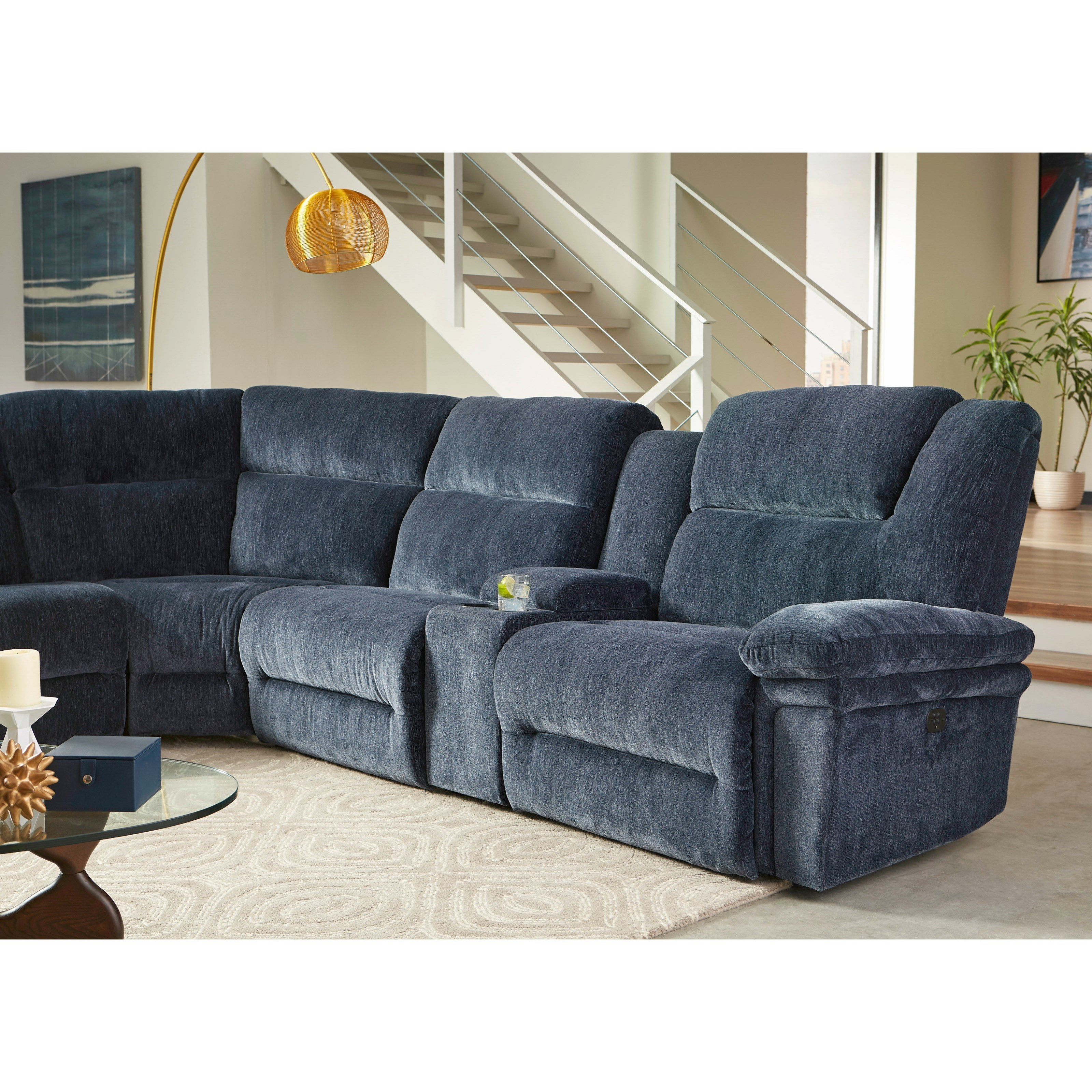 Best Home Furnishings Parker Six Piece Reclining Sectional Sofa With Cupholder Storage Console