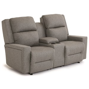 Best Home Furnishings Rynne Pwr Tilt Head/Lumbar Reclining Love w/ Consl