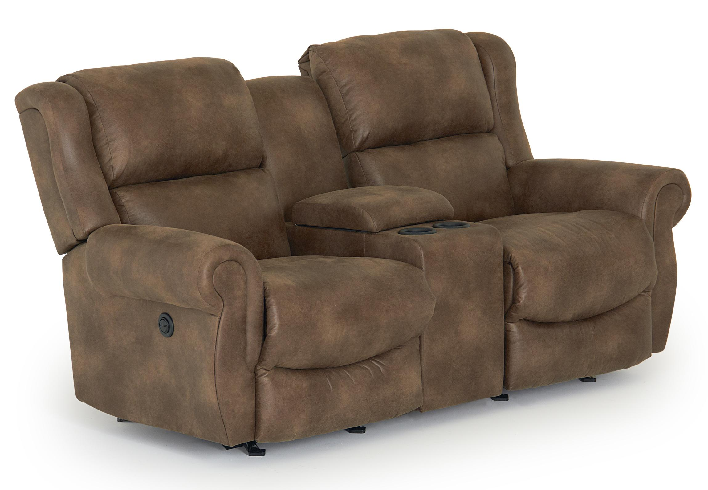 Best Home Furnishings Terrill Transitional Space Saver Reclining Loveseat With Drink Console